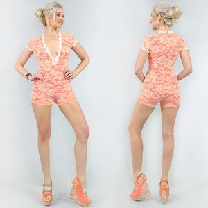 Pink Lace Shorts Romper